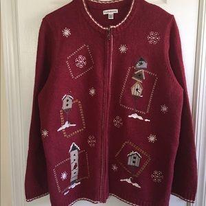 Women's Cardigan Sweater w/Zip Front w/Embroidery